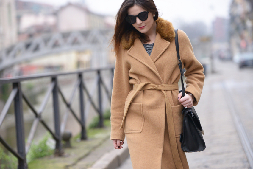 irene buffa - belt waist camel coat outfit idea