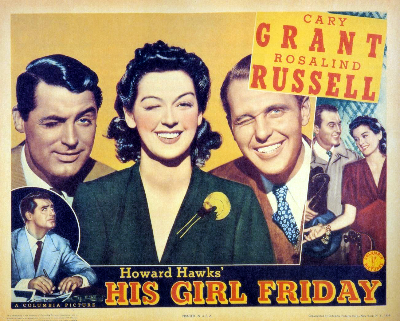 Rosalind Russel Cary Grant movie poster print 2 His Girl Friday 1940