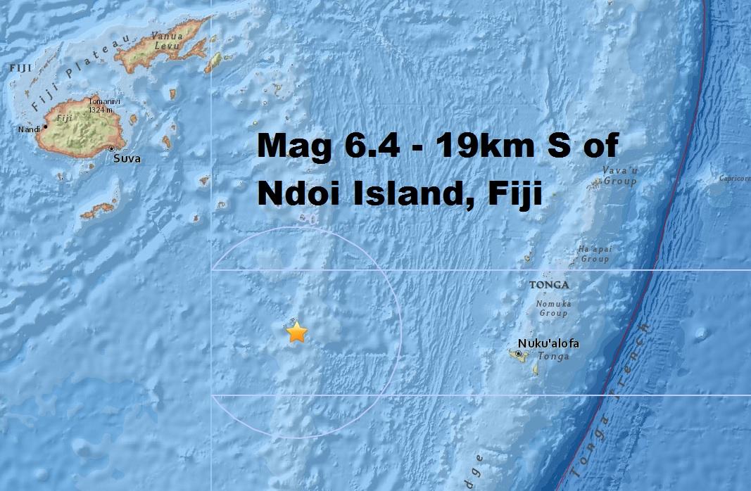 M6.4 - 19km S of Ndoi Island, Fiji is only the third major quake this month despite the uptick...