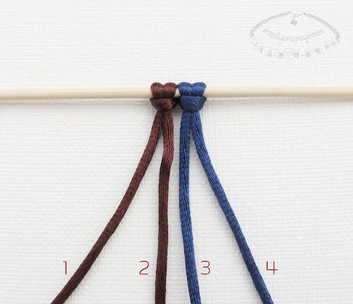 Podwójny węzeł łańcuszkowy wykonywany na 4 sznurkach - 1