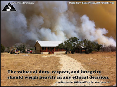 The values of duty, respect, and integrity should weigh heavily in any ethical decision.  – Leading in the Wildland Fire Service, page 64