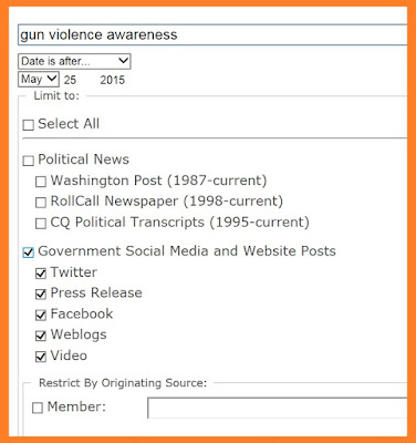 screen snip showing ProQuest social media search template