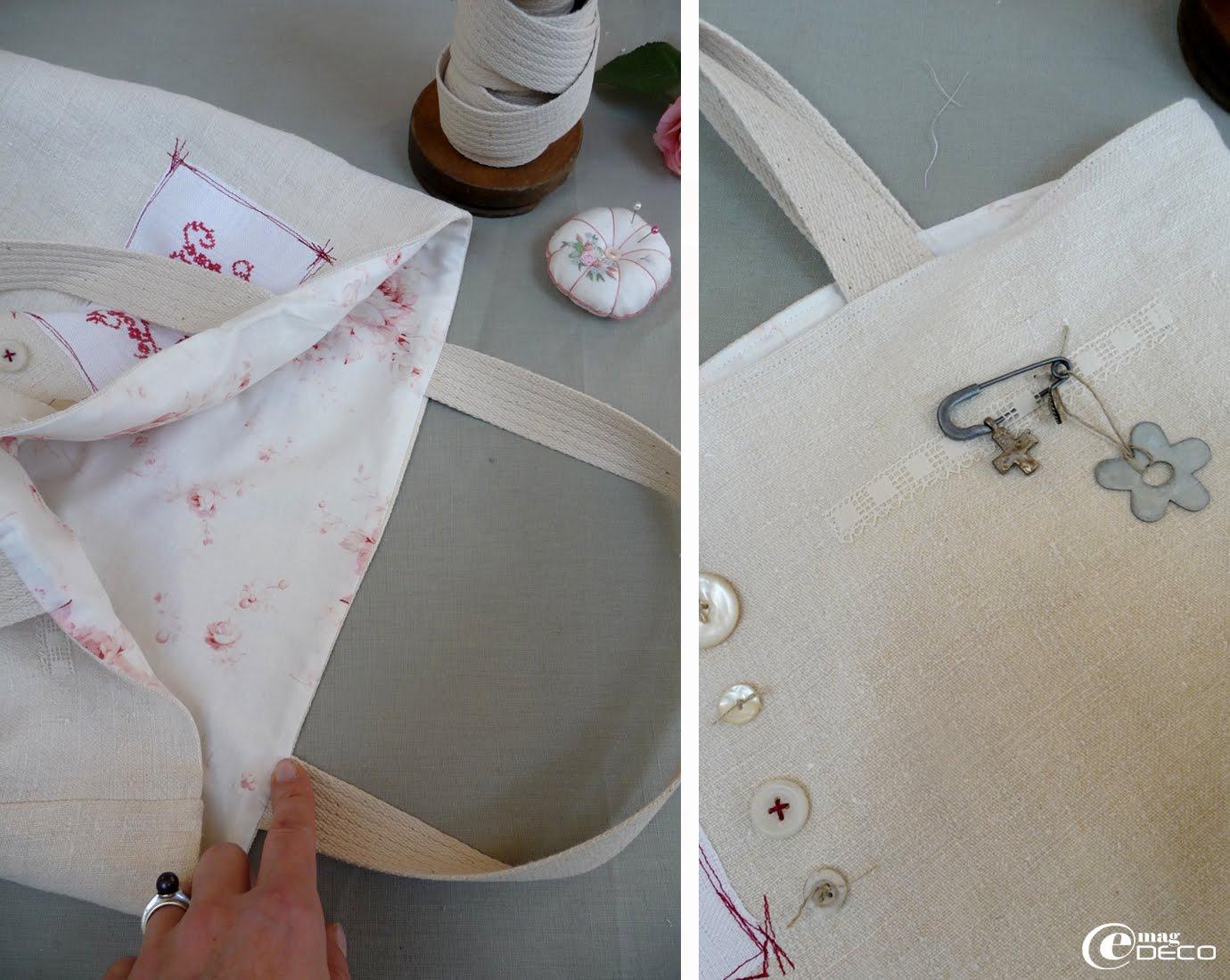 Étapes de création d'un cabas en tissus anciens et lin