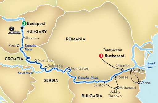 Budapest in Hungary and Bucharest in Romania are separated 500 miles away