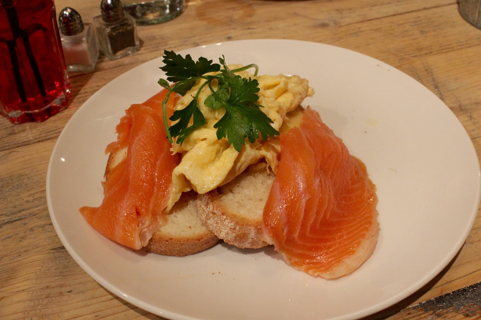 scrambled eggs and salmon on toast