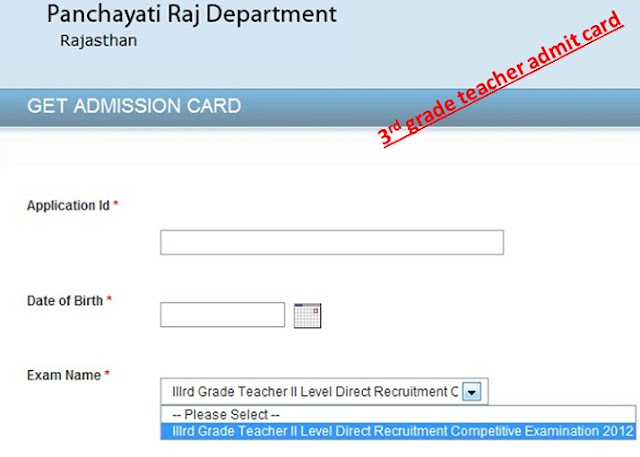 3rd grade teacher admit card 2012 exam date notification online application panchayati raj