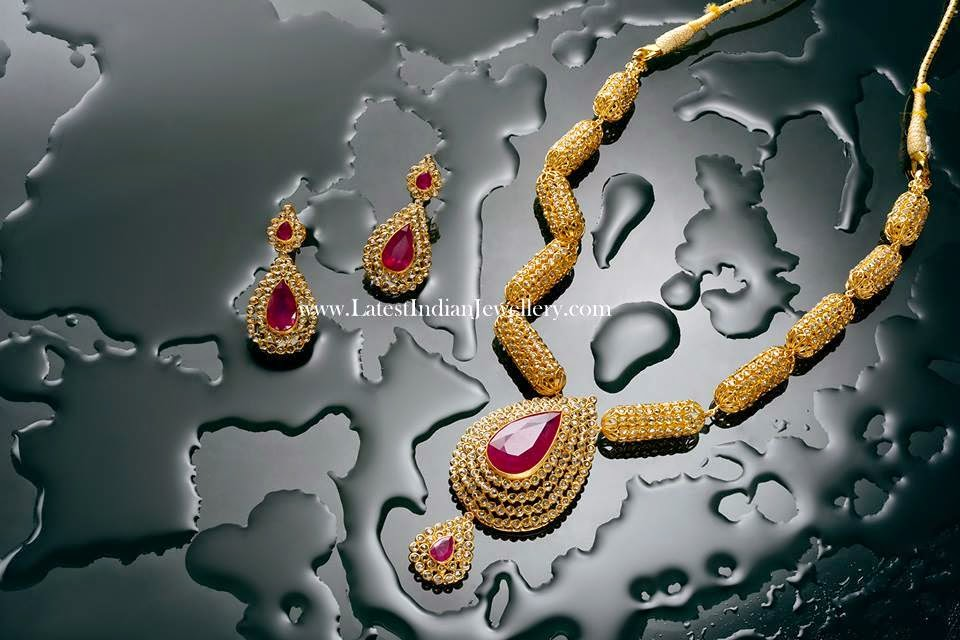 Pink Rubies Uncut Diamond Necklace