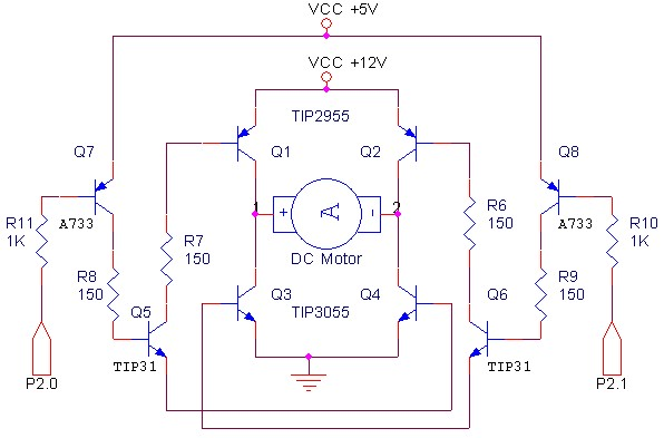 Electronic Circuit Schematic Bridge Dc Motor Driver Using