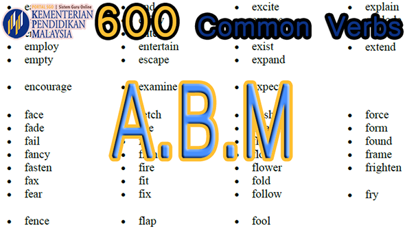 Pedagogi KSSR | ABM List of 600 Common Verbs Used in English