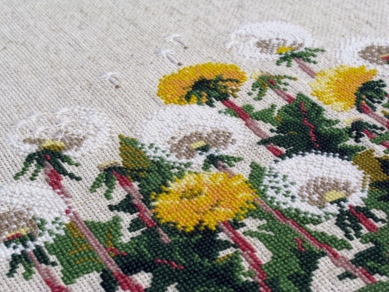 Вышивка одуванчики риолис