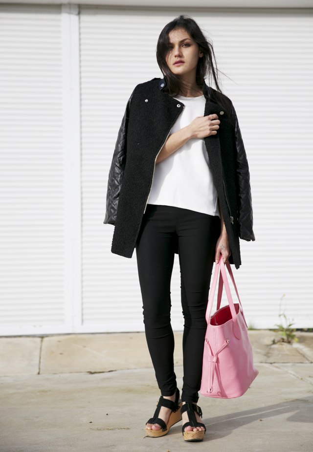 Sheinside coat with leather look quilted sleeves. Niclaire Classic Wave tote in pink,. ASOS textured, structured top.