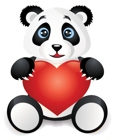 Love panda and heart