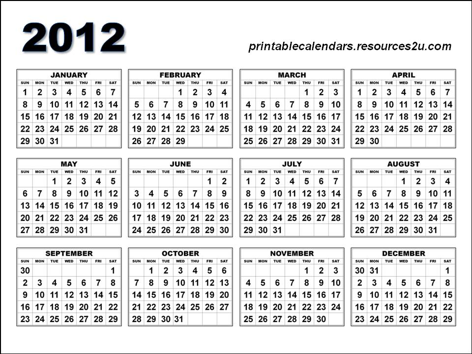 See free resources for 2012 calendar and blank calendars planners