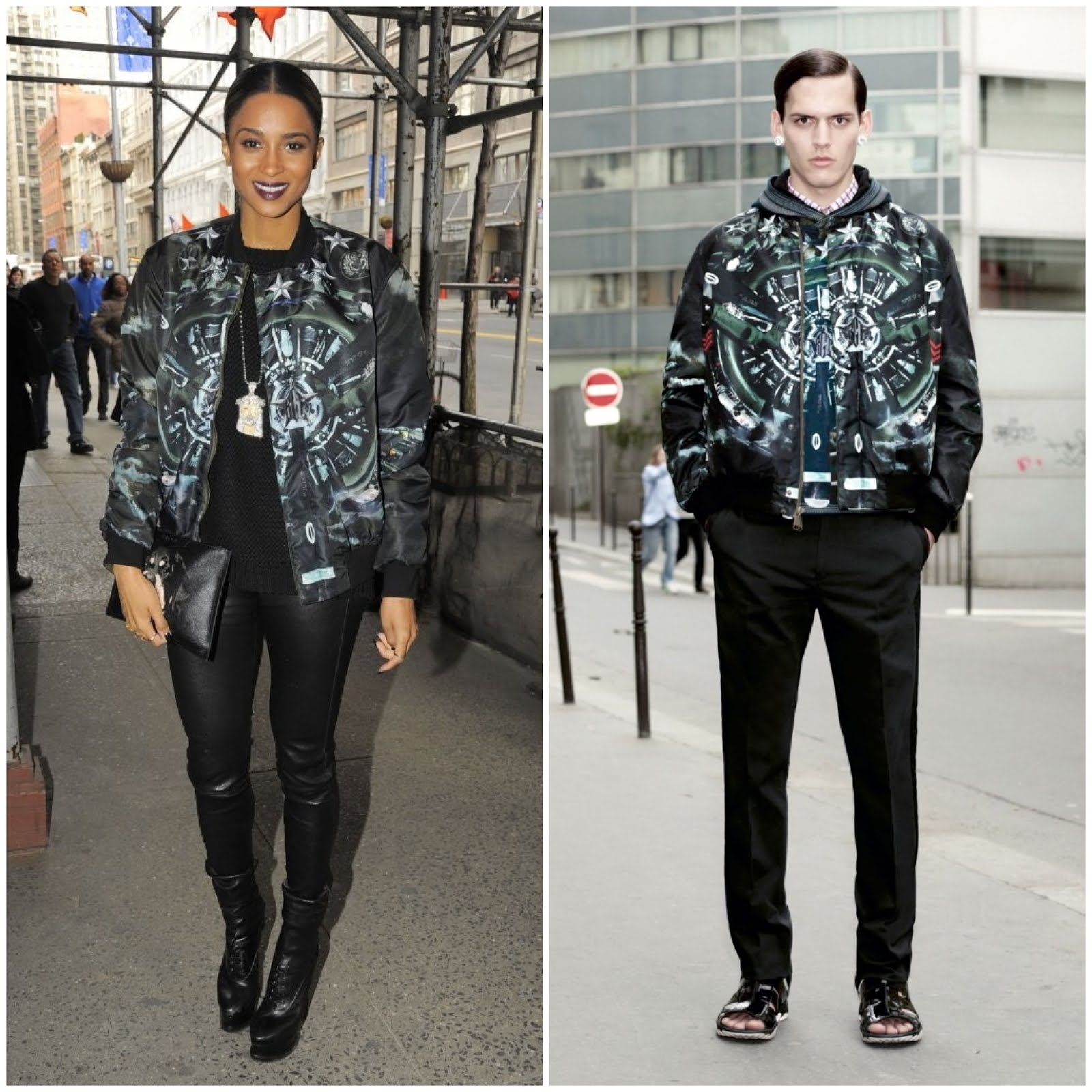 00O00 Menswear Blog Ciara in Givenchy airplane print jacket March 2013