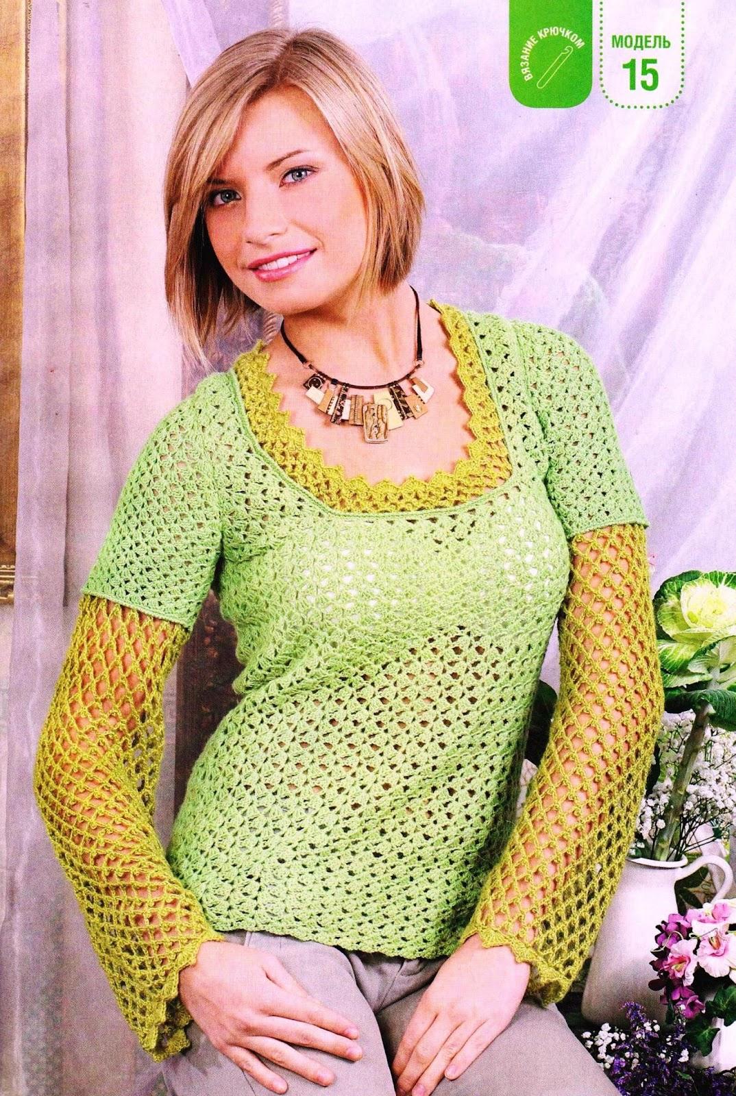 Двухцветные Блузки Вязать