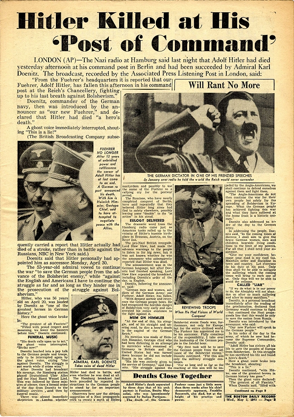 an analysis of the deeds by adolf hitler and the inevitable suicide On april 29, 1945, in his underground bunker, adolf hitler readied himself for death and wrote a political document before committing suicide.
