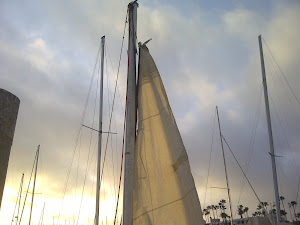 Make Shift Sail on Jury Rig Mast