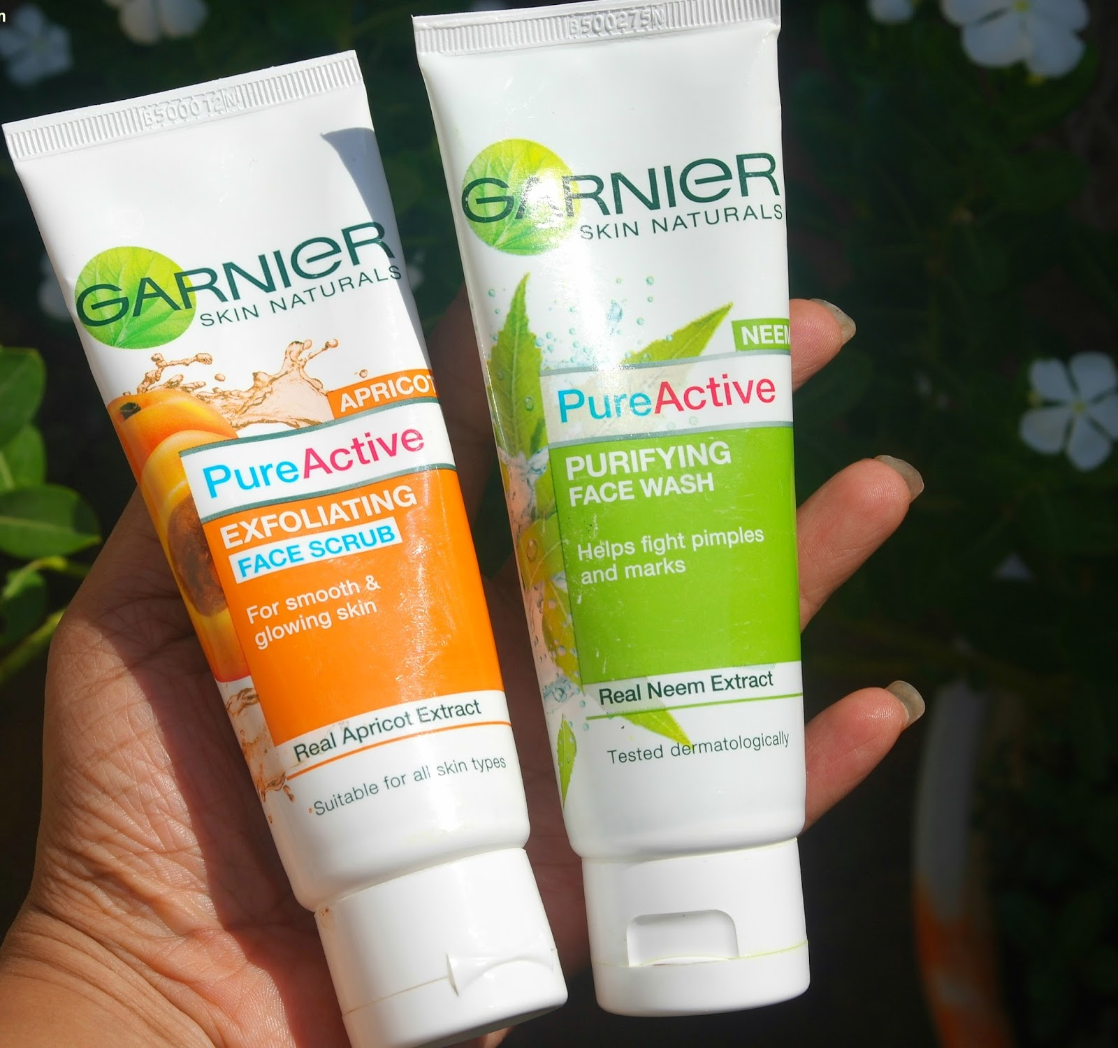 The Garnier Pure Active Neem facewash and Apricot Scrub.
