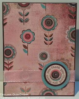 Handmade card using basic grey fancy paper from blush collection and SU Seeing Spots stamp