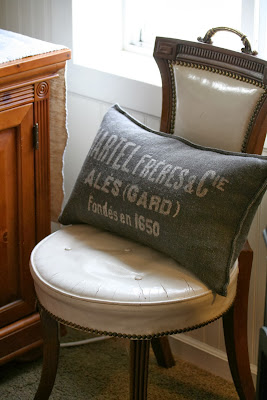 chippy chair and linen grain sack pillow