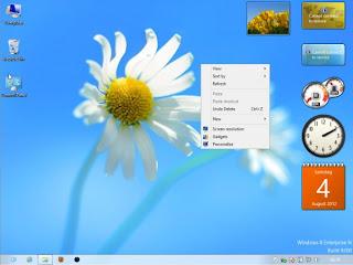 اضافة gadgets  والشريط الجانبي في ويندوز 8