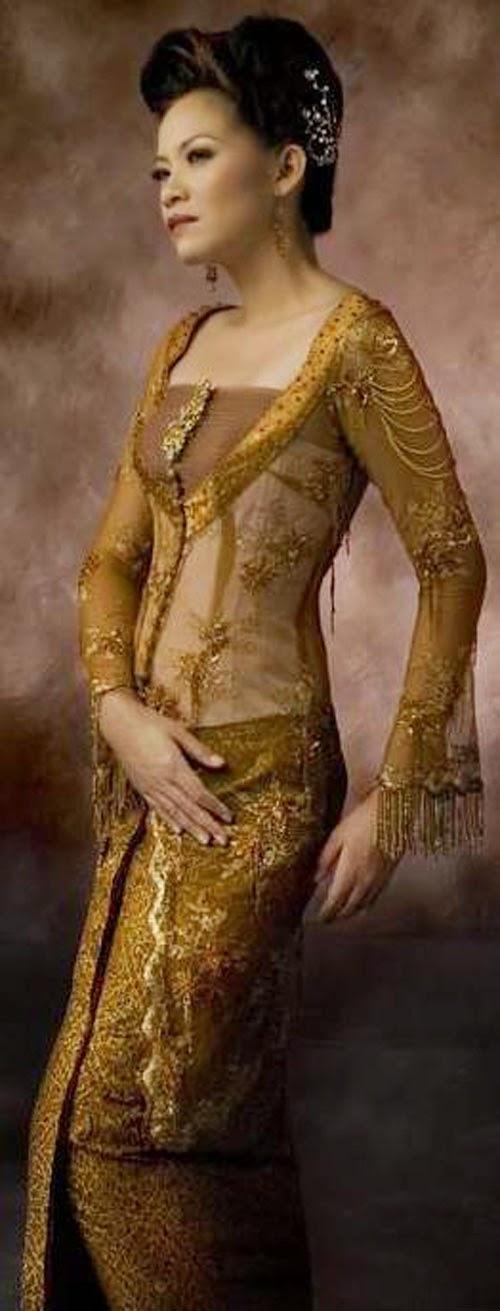 baju kebaya kuning emas