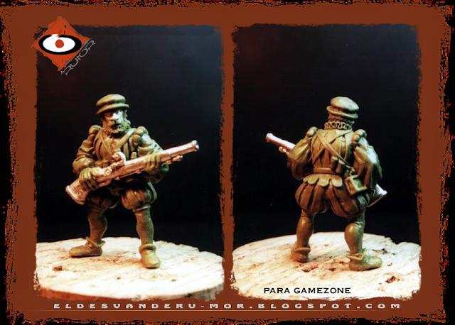 Miniatura diseñada y esculpida por ªRU-MOR para Gamezone, ejercito de los tercios del Imperio de Warhammer Fantasy. Arcabucero con arma a dos manos