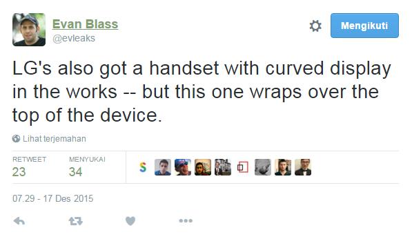 LG siapkan ponsel layar lengkung baru yang berbeda dari seri G Flex