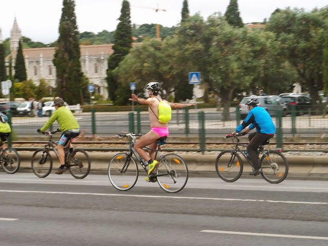 Cyclist in underwear in Belem on Semi-Charmed Kind of Life