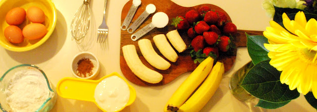 Ingredients for strawberry banana pancakes