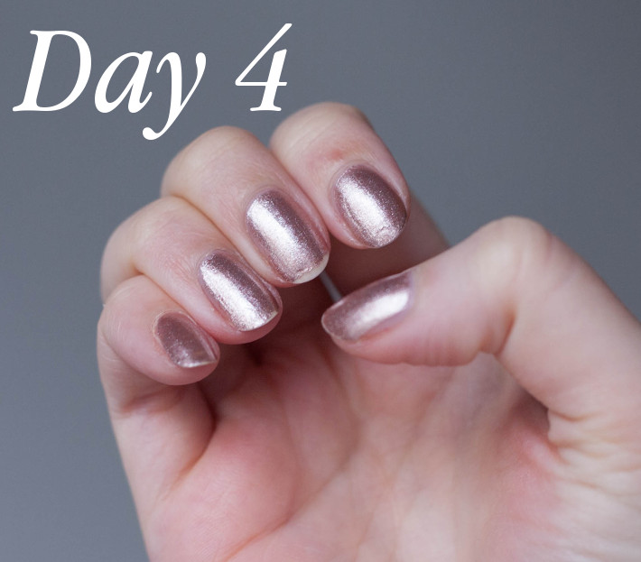 Orly Color Amp'd On the List review, rose gold nail polish.