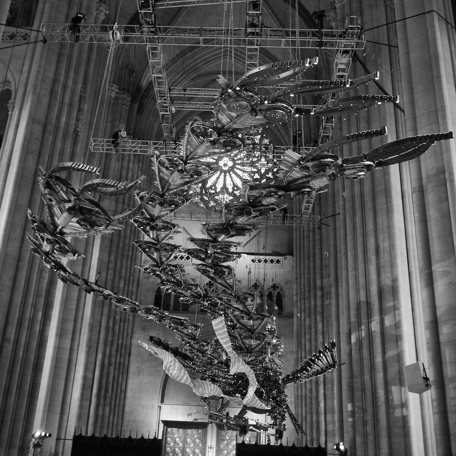 Imagining a Phoenix taking Flight #imaginingaphoenixtakingflight #phoenix #xubing #stjohnthedivinecathedral #art #nyc ©2014 Nancy Lundebjerg