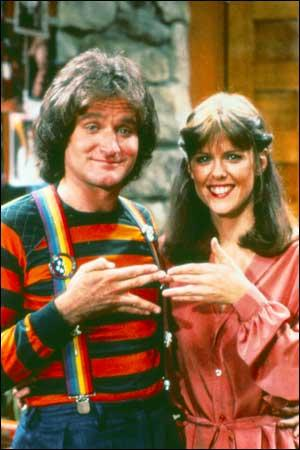 Robin Williams (Mork) and Pam Dawber (Mindy McConnell) stars of the TV show ...
