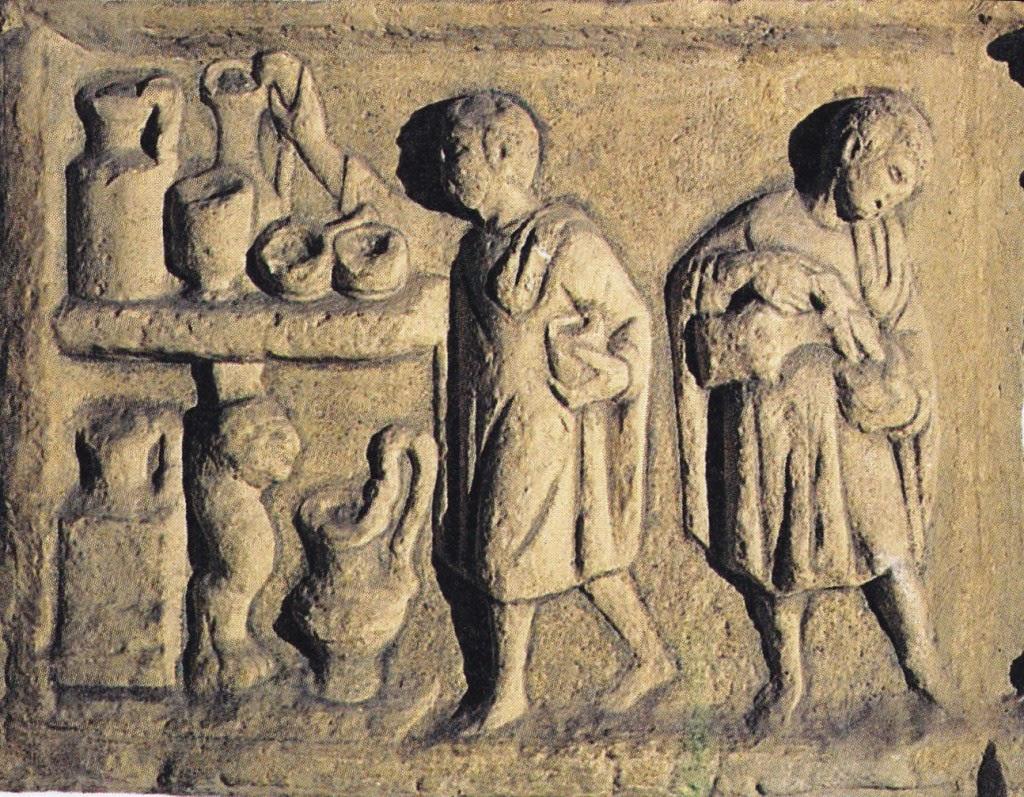 Esclavos trabajando en un cocina romana
