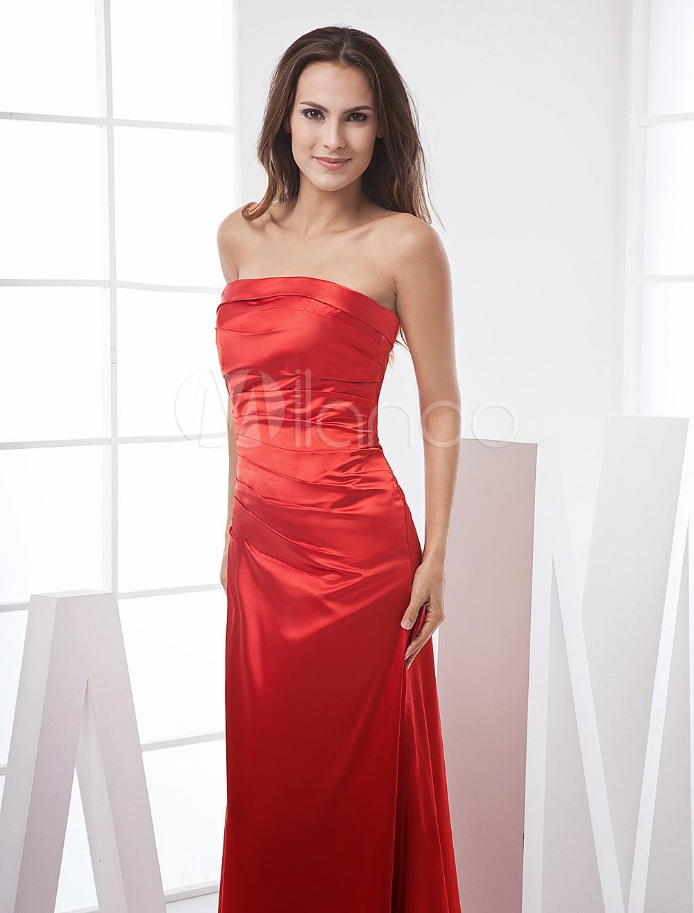 China Wholesale Dresses - Red Strapless Satin Prom Dress