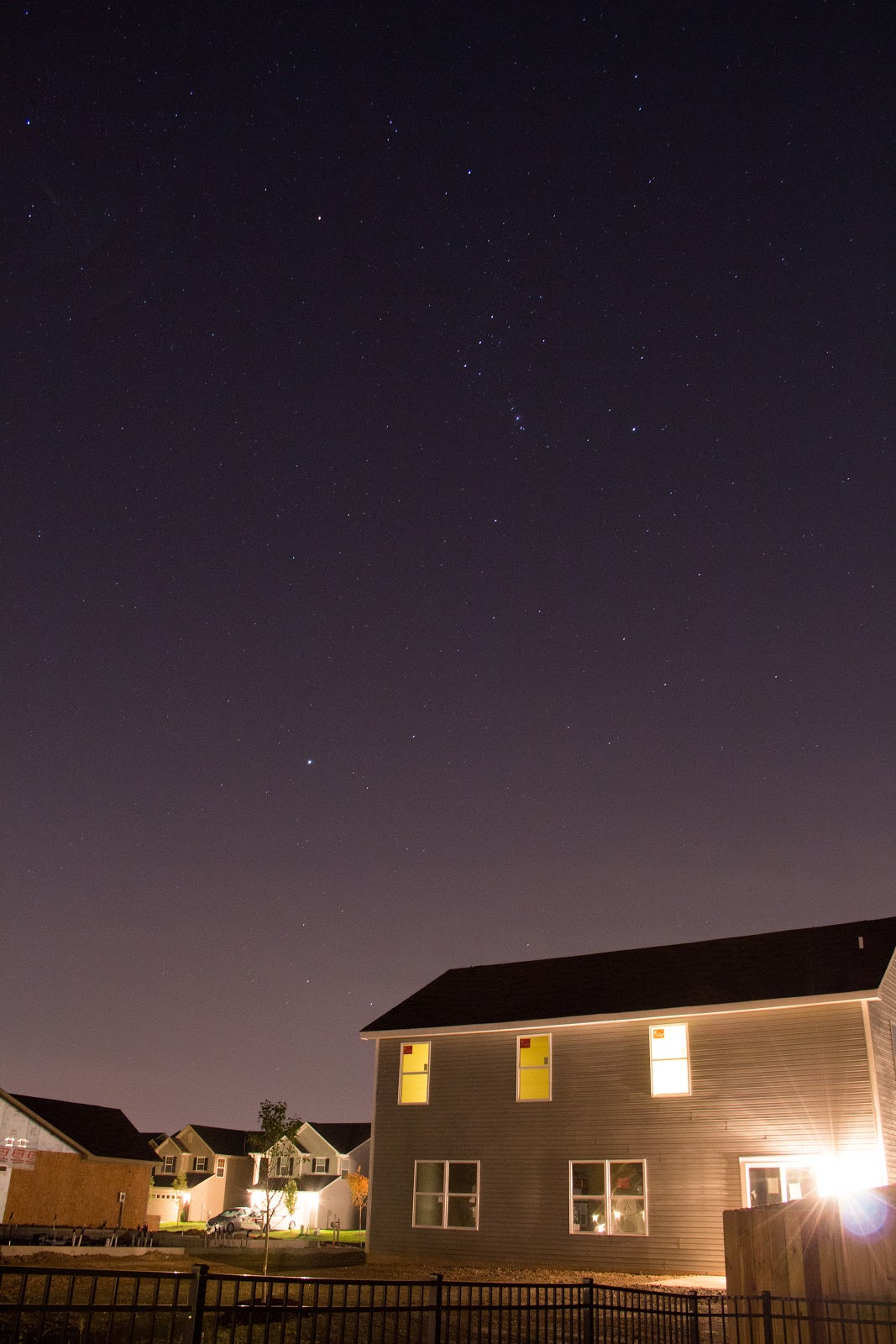 orion constellation over house