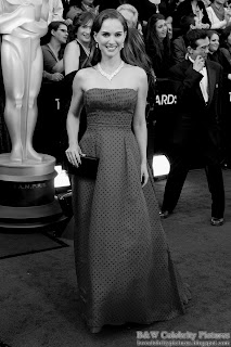 Natalie Portman over red carpet at 2012 Academy Awards - Oscar arrival