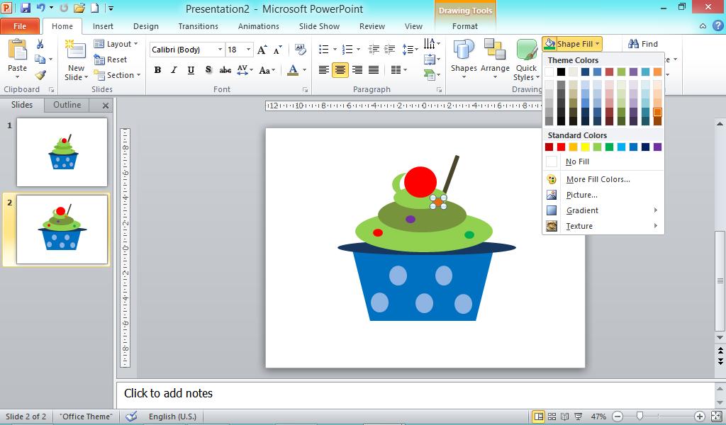 Kue Cupcake sebagai hiasan Powerpoint