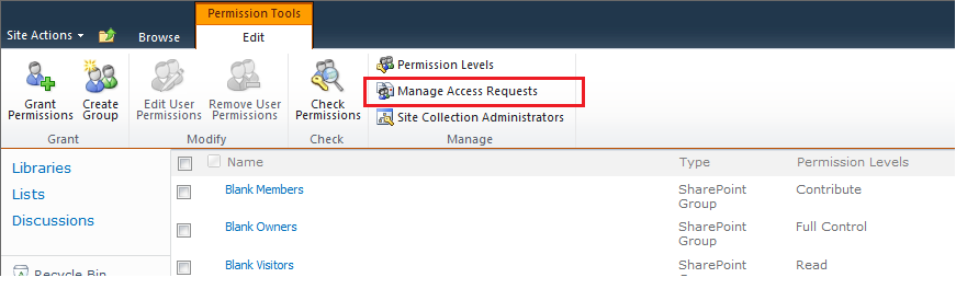 Sharepoint 2007 access request settings