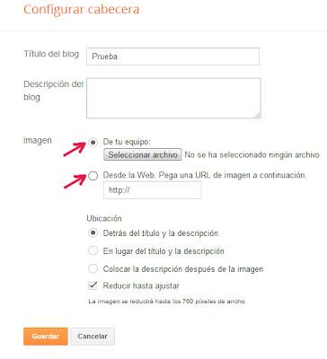Configuracion imagen cabecera del blog