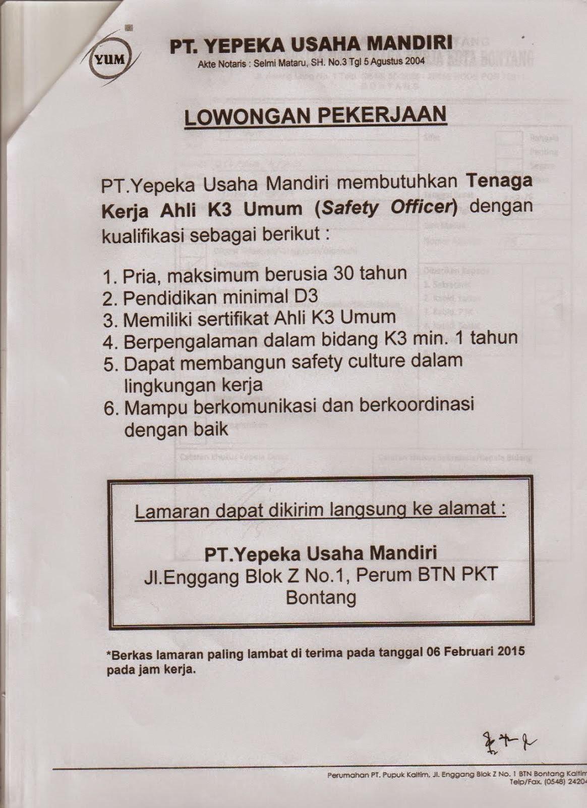 Lowongan Kerja Terbaru ahli K3 PT YUM Bontang.Berikut ini informasi tentang Lowongan kerja Terbaru di sekitar Kota Bontang.