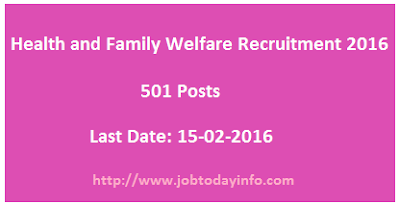 Health and Family Welfare Recruitment 2016 – 501 Civil Asst Surgeon Posts