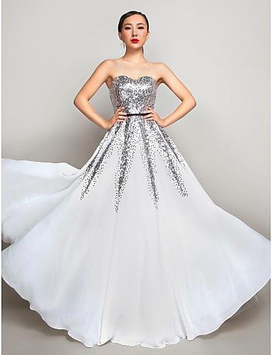 Vestido de Fiesta Blanco con Plateado