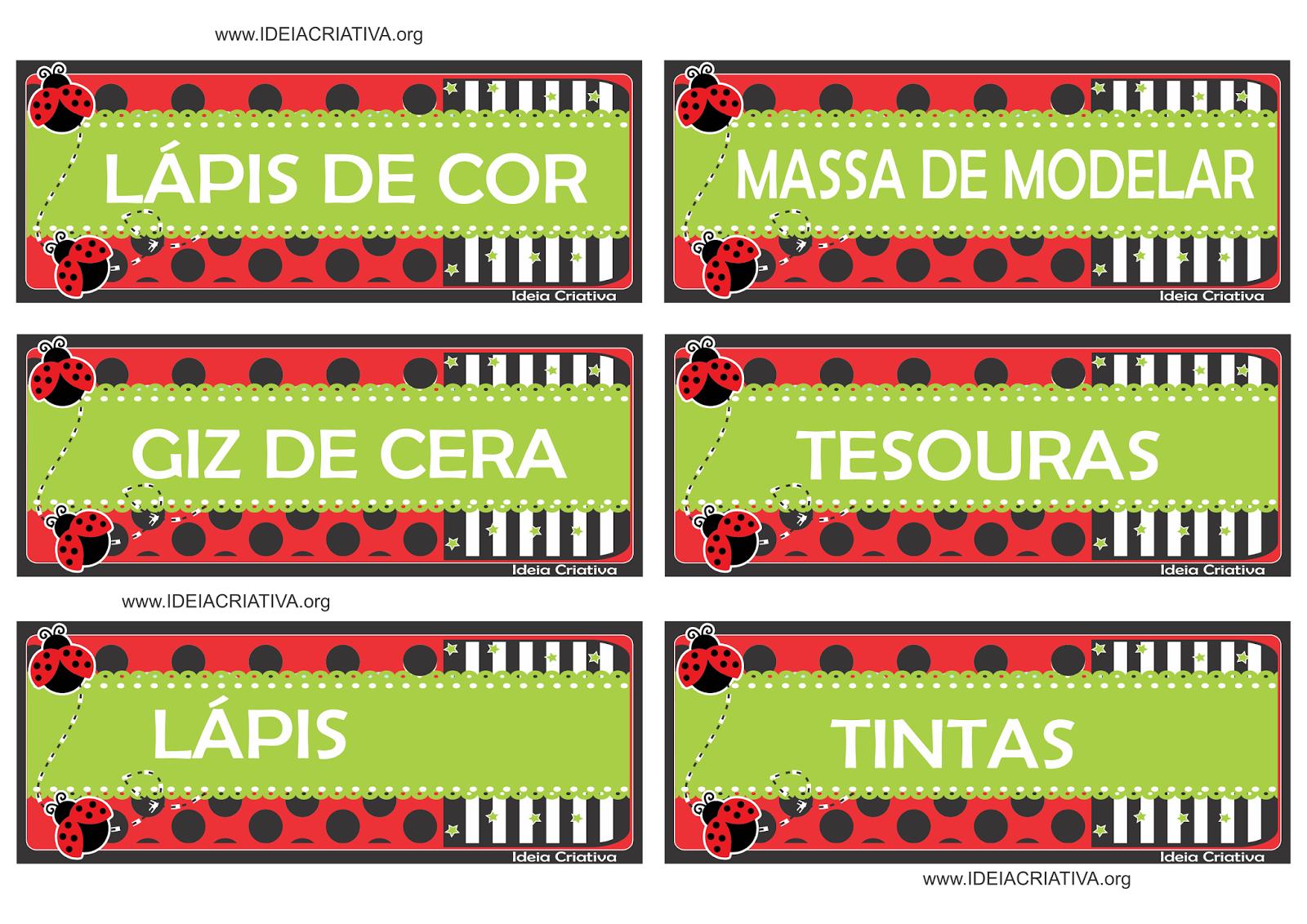 Etiquetas Joaninhas para organizar material escolar