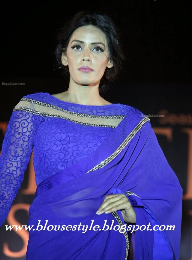 blue saree with full SLEEVE BLOUSE