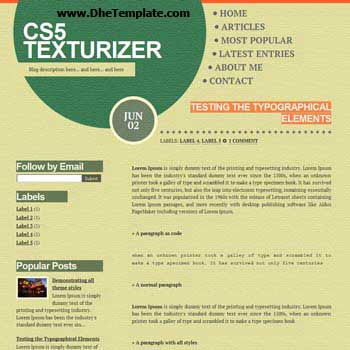 CS5 Texturizer blogger template. minimalist design template