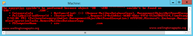 """Erro The operation couldn't be performed because object 'Database\MailboxServer' coldn't be found on """"ActiveDirectory.local"""" ao executar um Remove-MailboxDatabaseCopy"""