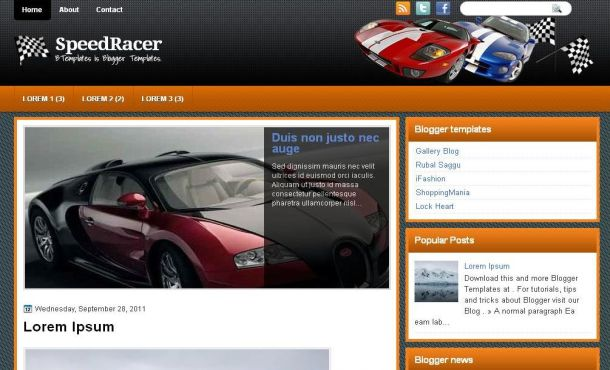 Free Speed Cars Racing Blogger Layout Template