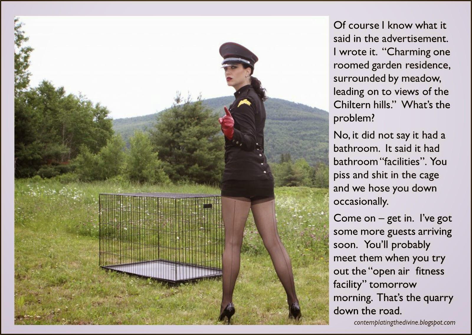 Mistress Bardot cages a guest