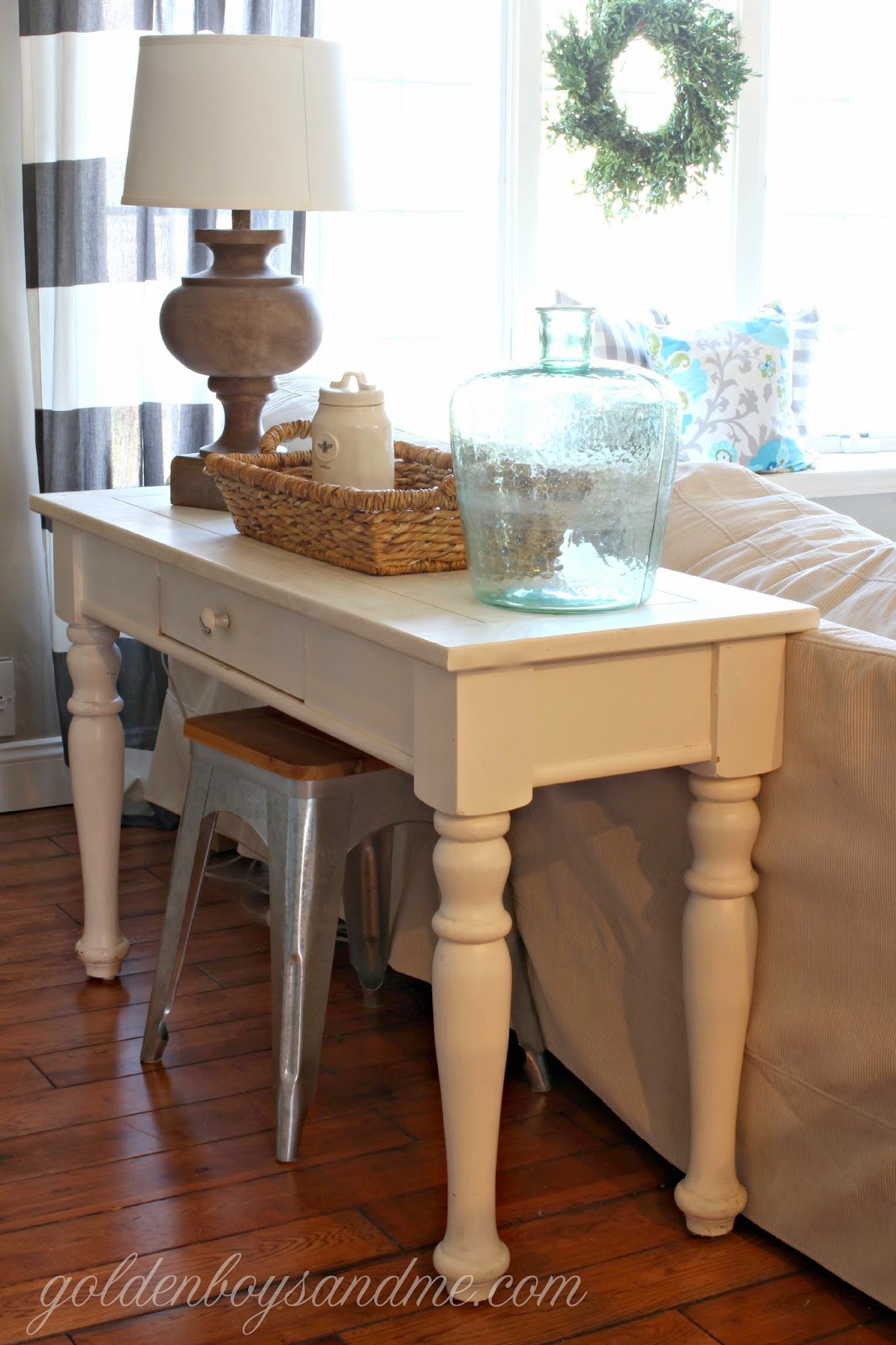 White painted sofa table with Target Threshold lamp-www.goldenboysandme.com